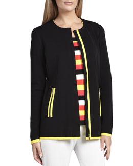 Misook Milano Piped Long Jacket