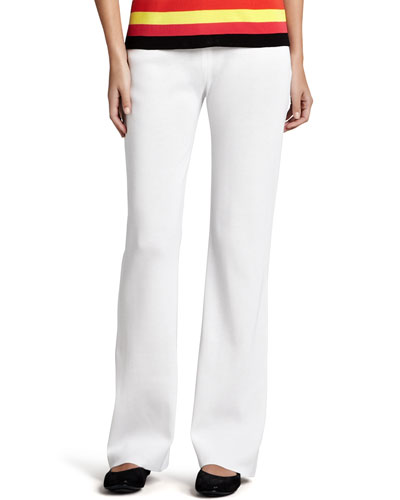 Misook Casey Boot-Cut Pants, White, Women's