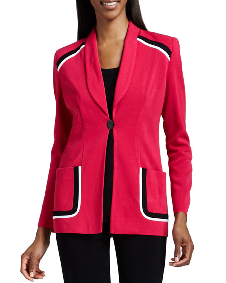 Paige Tipped One-Button Jacket, Women's