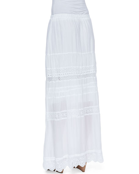 Trim-Inset Georgette Eyelet Maxi Skirt, Women's