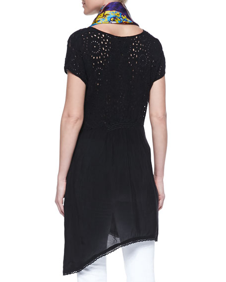 Asymmetric Georgette V-Neck Tunic, Black