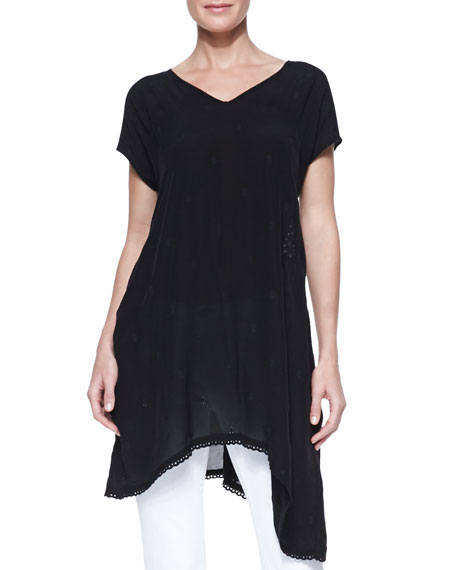 Johnny Was Collection Asymmetric Georgette V-Neck Tunic, Black