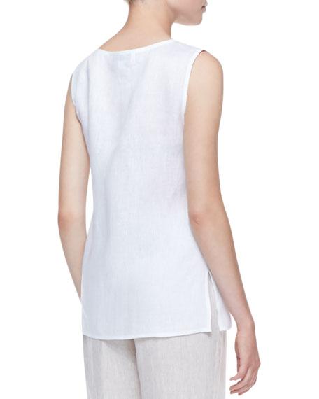 Tissue Linen Tank, White