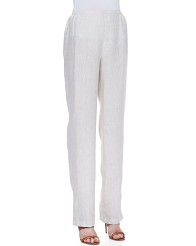 Tissue Linen Straight-Leg Pants, Petite