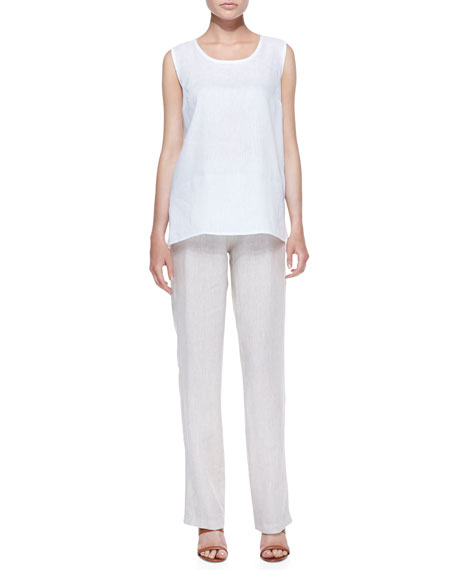 Tissue Linen Straight-Leg Pants, Women's