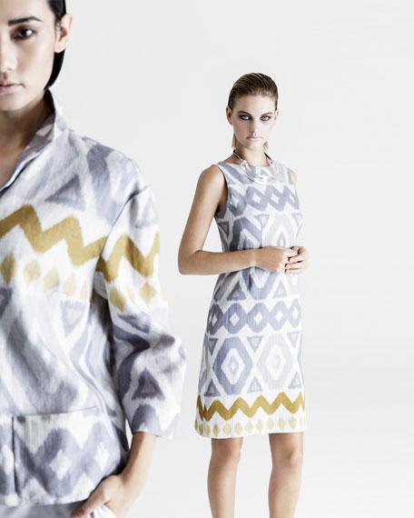 Reina Printed Topper Jacket, Raffia Multi
