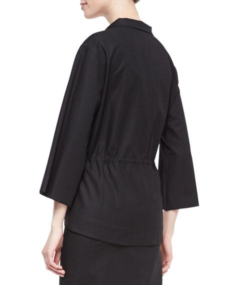 Neptina Flare-Sleeve Drawstring-Waist Topper Jacket, Black