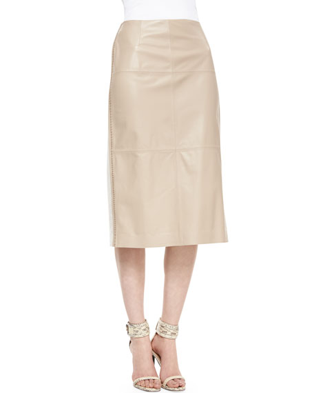 Over-the-Knee Leather-Front Skirt, Pumice/White