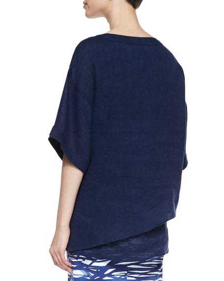 Lina Short-Sleeve Linen Top