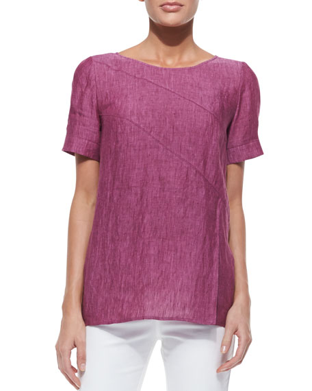 Amberly Short-Sleeve Zigzag Seam Top, Pomegranate