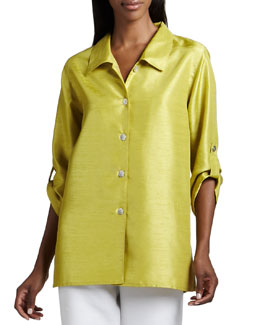 Caroline Rose Shantung Tab Shirt, Petite