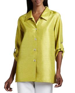 Caroline Rose Shantung Tab Shirt