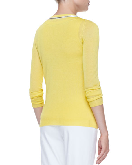 Button-Front Cardigan with Bead Trim, Yellow