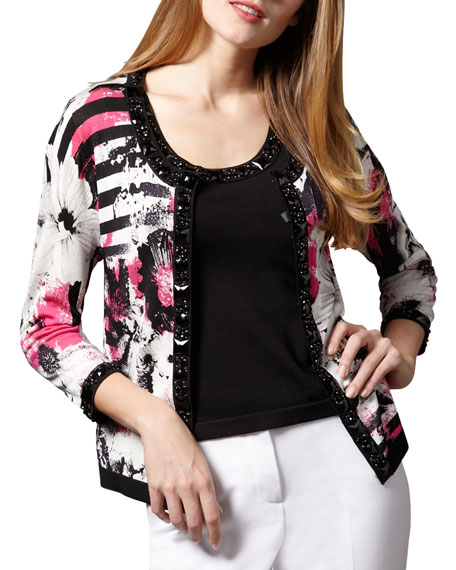 Printed Bead-Trim Cardigan