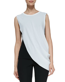 T Tahari Maris Sleeveless Chiffon Layered Blouse