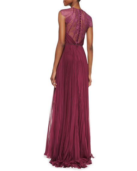Patsy Silk & Lace Cap-Sleeve Gown, Magenta