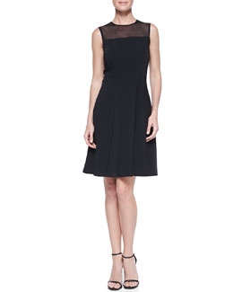 T Tahari Lincoln Sleeveless Mesh-Yoke Dress
