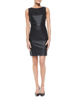 T Tahari Neala Sleeveless Perforated Faux-Leather Dress, Black