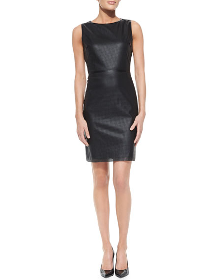Neala Sleeveless Perforated Faux-Leather Dress, Black