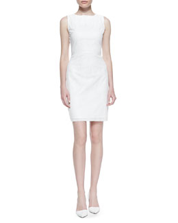 T Tahari Neala Sleeveless Perforated Faux-Leather Dress, White