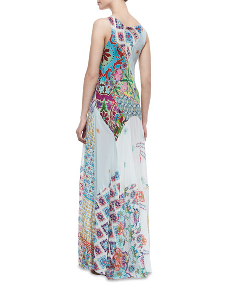 Johnny Was Collection Gypsy Silk Mixed Print Sleeveless Maxi Dress