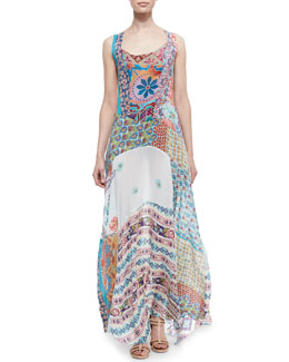 Johnny Was Collection Gypsy Silk Mixed-Print Sleeveless Maxi Dress