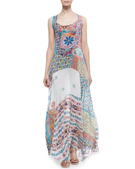 Gypsy Silk Mixed-Print Sleeveless Maxi Dress