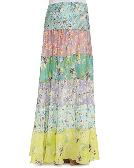 Tropical Silk Tiered Maxi Skirt