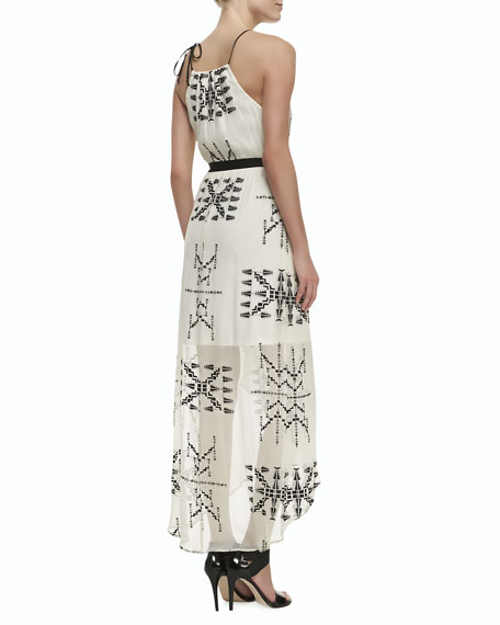 Printed Silk Sleeveless Maxi Dress