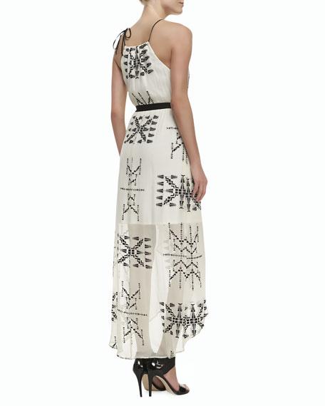 Printed Silk Sleeveless Maxi Dress