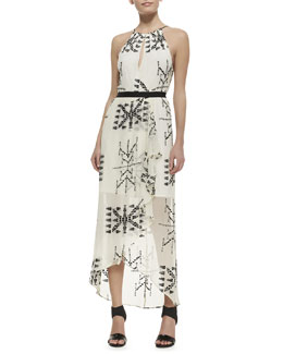 12th Street by Cynthia Vincent Printed Silk Sleeveless Maxi Dress