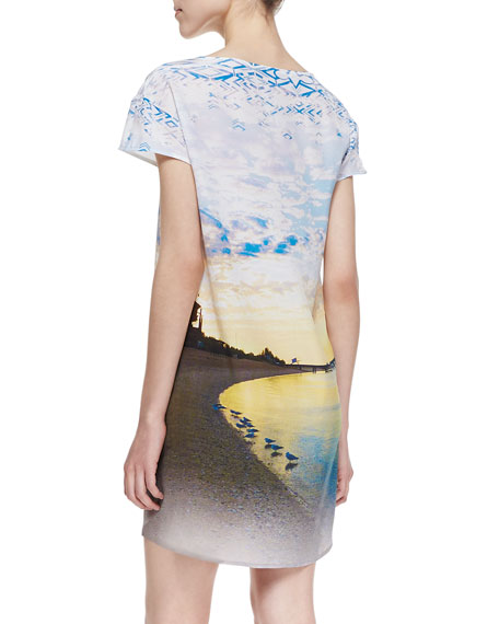 Printed-Silk Short-Sleeve High-Low Shift Dress