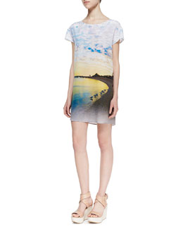 12th Street by Cynthia Vincent Printed-Silk Short-Sleeve High-Low Shift Dress