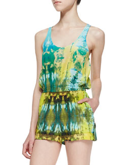 12th Street by Cynthia Vincent Silk & Leather-Cutout Detail Short Jumpsuit