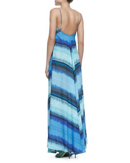 Mitered Striped Knit Maxi Dress