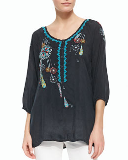 Johnny Was Collection Dandelion Embroidered Blouse