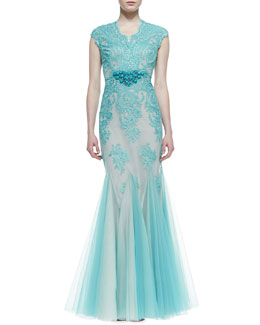 Rickie Freeman for Teri Jon Cap-Sleeve Lace Overlay Mermaid Gown, Aqua