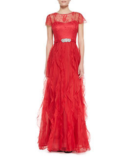 Rickie Freeman for Teri Jon Cap-Sleeve Belted Ruffle-Skirt Gown, Red