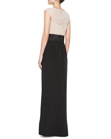 Cap-Sleeve Beaded-Bodice Gown, Silver/Black