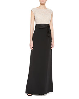 Rickie Freeman for Teri Jon Cap-Sleeve Beaded-Bodice Gown, Silver/Black