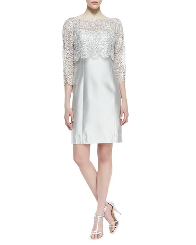Rickie Freeman for Teri Jon 3/4-Sleeve Lace Pop Top Cocktail Dress, Platinum