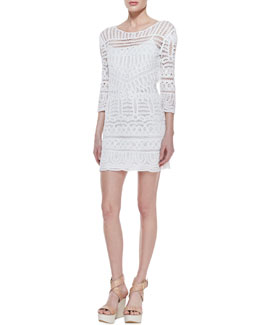 12th Street by Cynthia Vincent 3/4-Sleeve Fitted Lace Dress