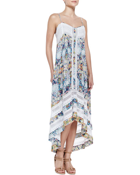 Printed/Lace High-Low Dress