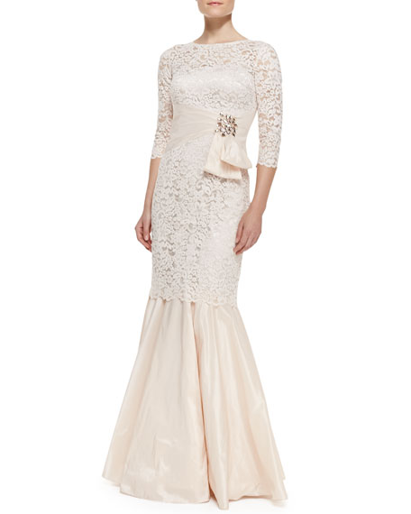 3/4-Sleeve Lace Mermaid Gown, Light Pink