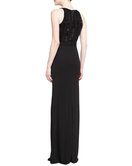 Sleeveless Sequined Jersey Gown