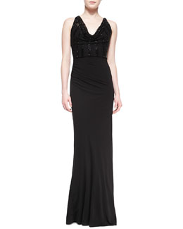 David Meister Sleeveless Sequined Jersey Gown