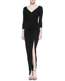 David Meister 3/4-Sleeve Lace Back Gown with Slit, Black
