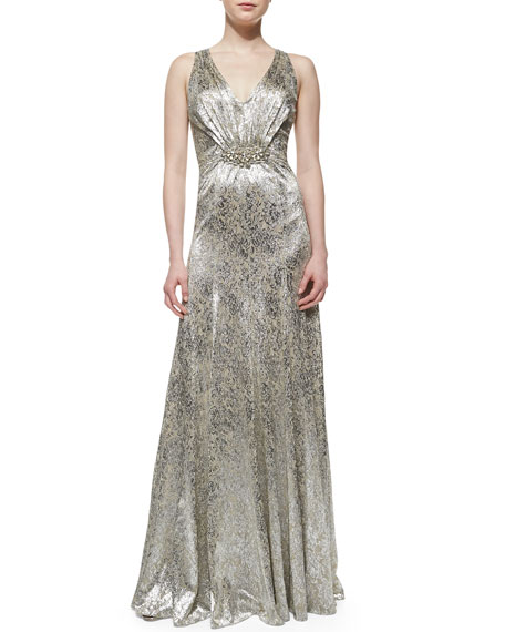 Sleeveless Sequin Brooch-Waist Gown