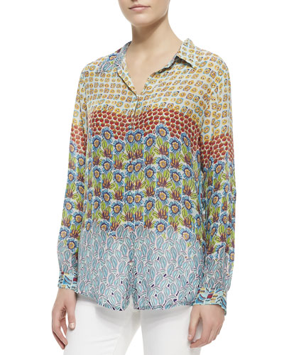 Johnny Was Collection Georgette Button-Front Blouse