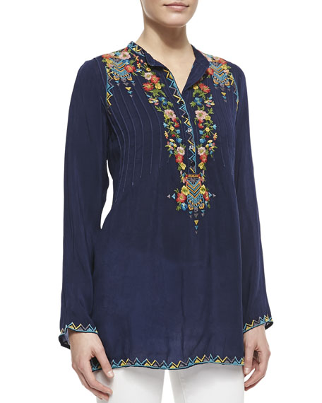 Embroidered Georgette Tunic, Women's